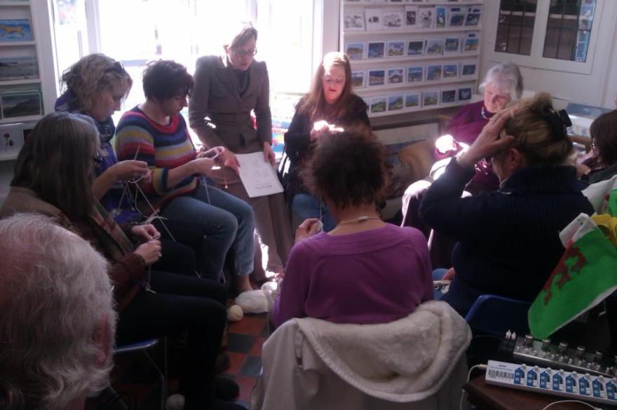 knitting in Seaways bookshop